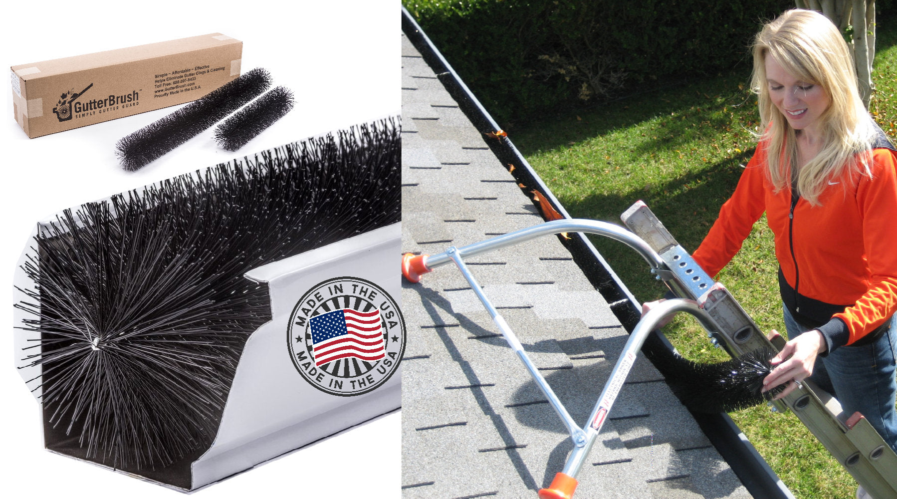 GutterBrush Gutter Guard Easiest Leaf Filter Gutter Protection