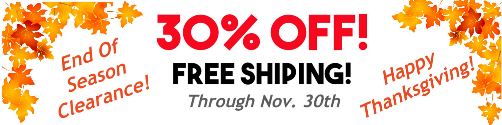 November 30 Percent Off and Free Shipping Sale Banner Through November 30th
