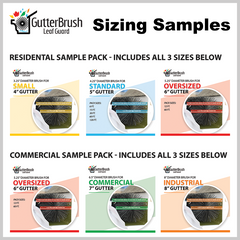 image of sizing samples for residential or commercial, 3 sizes per box