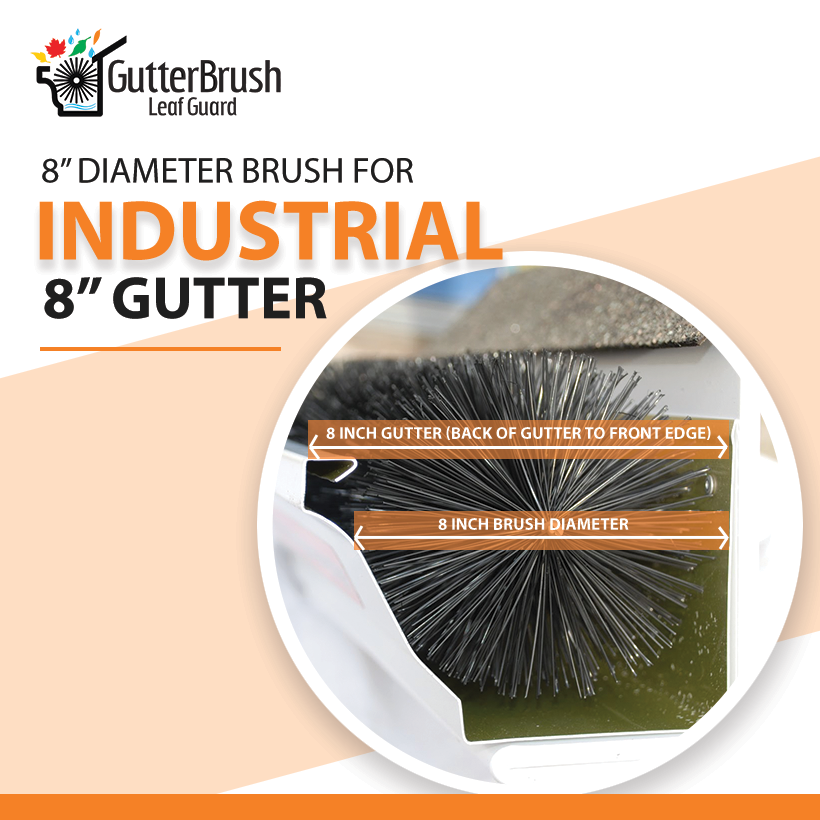 8.00 In. Dia. For 8 In. Gutters - Industrial - 18 Ft. Pk. - GutterBrush