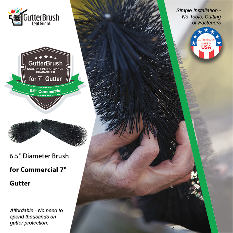Gutterbrush Leaf Guard 7 Inch Commercial Gutters 45 Ft