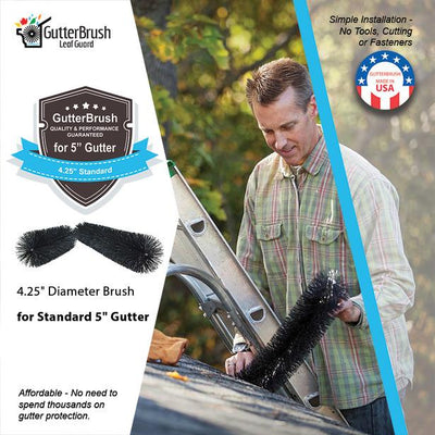 15 Ft. Gutter Guard Pack - 5 In. Standard (4.25 In. Dia.) - GutterBrush