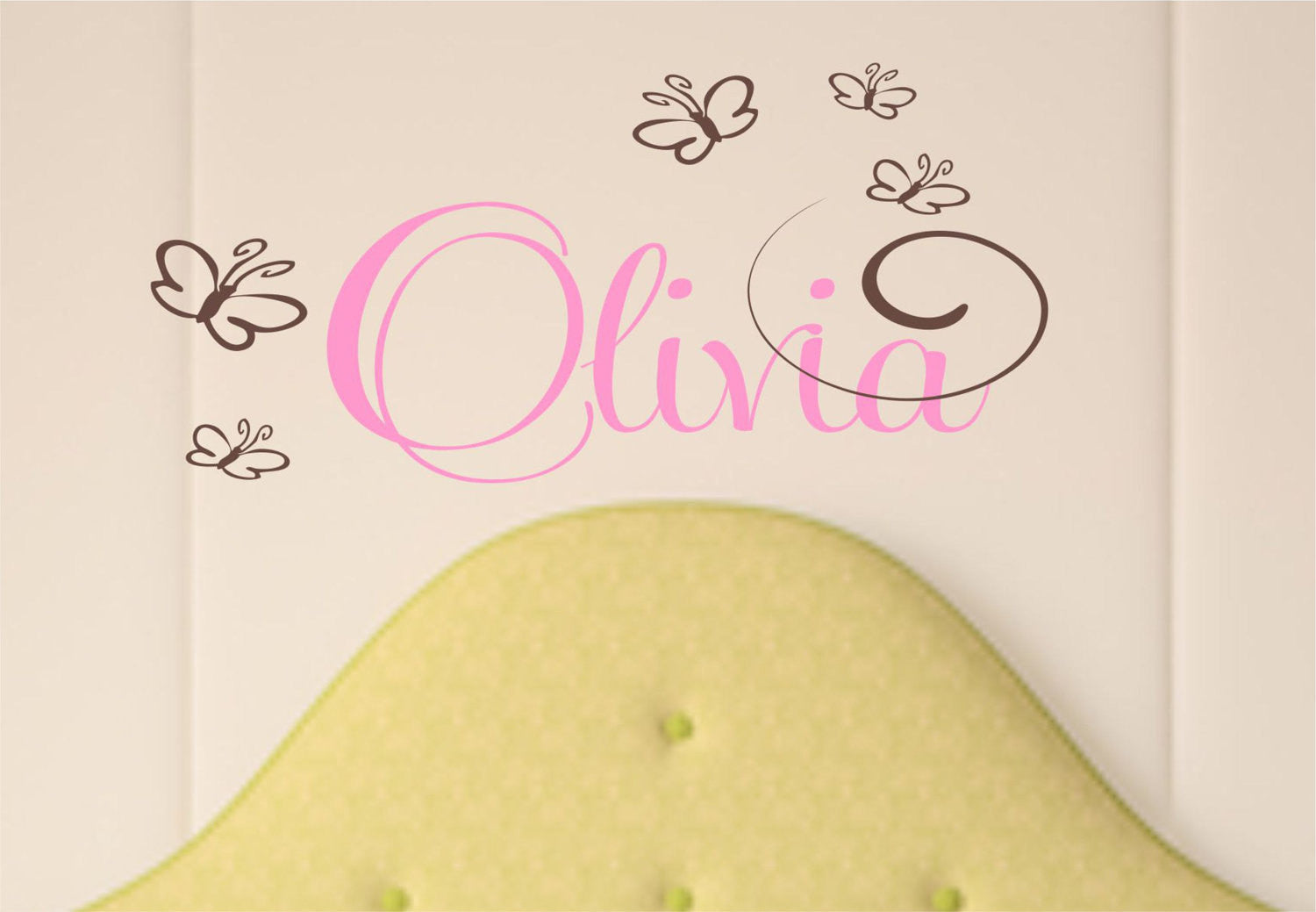 Girls Name with Butterflies Wall Decal