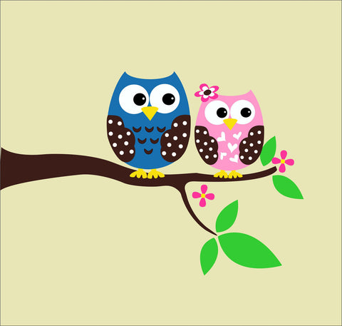 Owl Couple on Branch