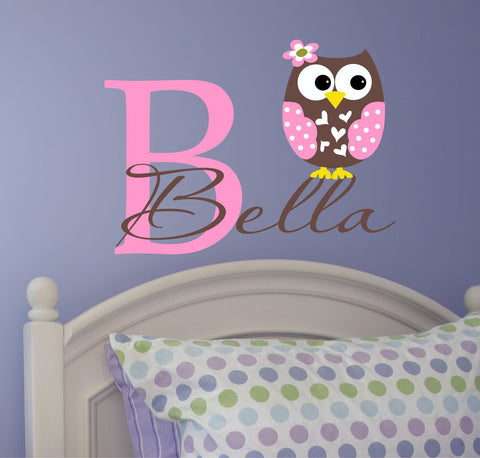 Personalized Owl Wall Decal