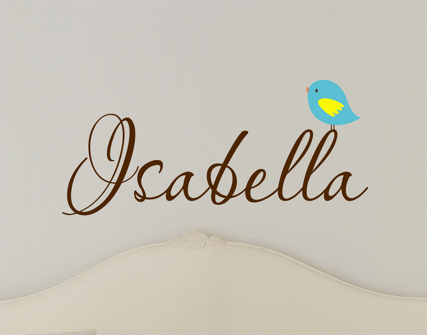 Girls Name Wall Decal with Bird