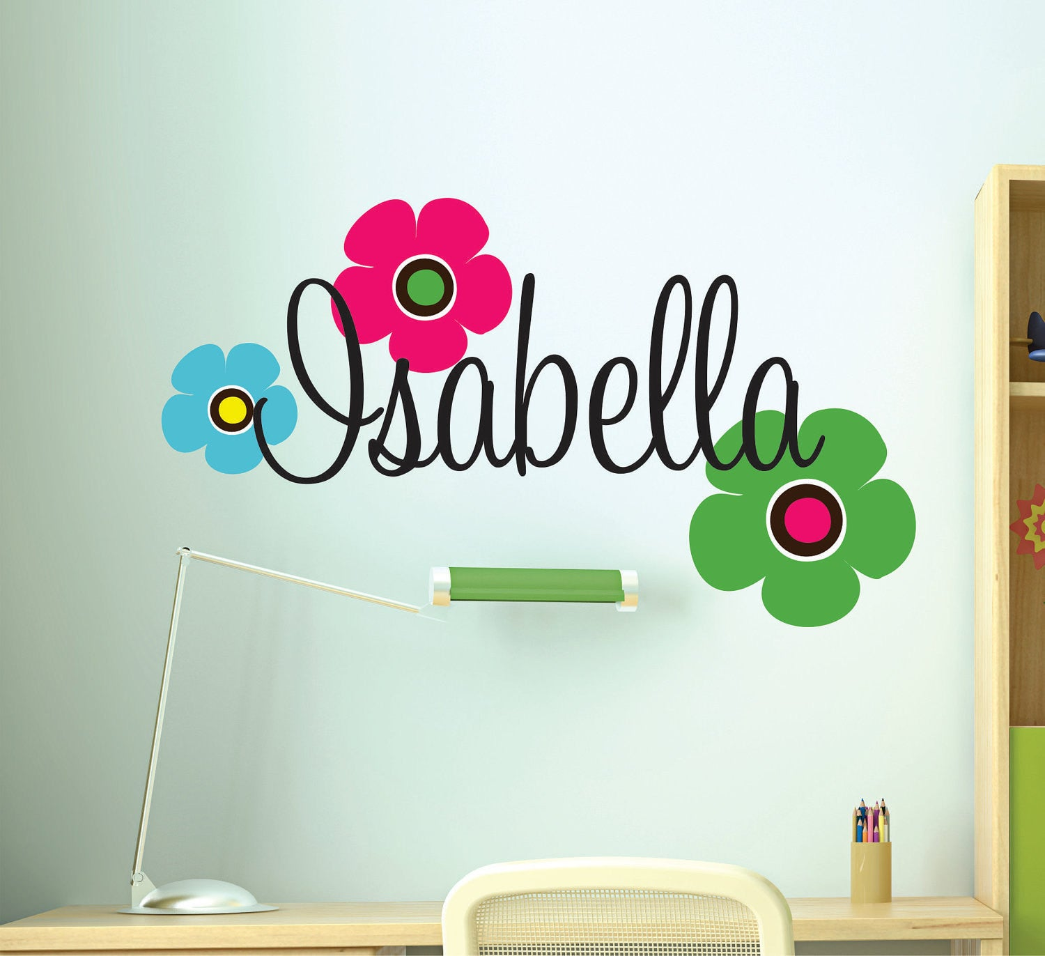 Girls Name Wall Decal with Flowers