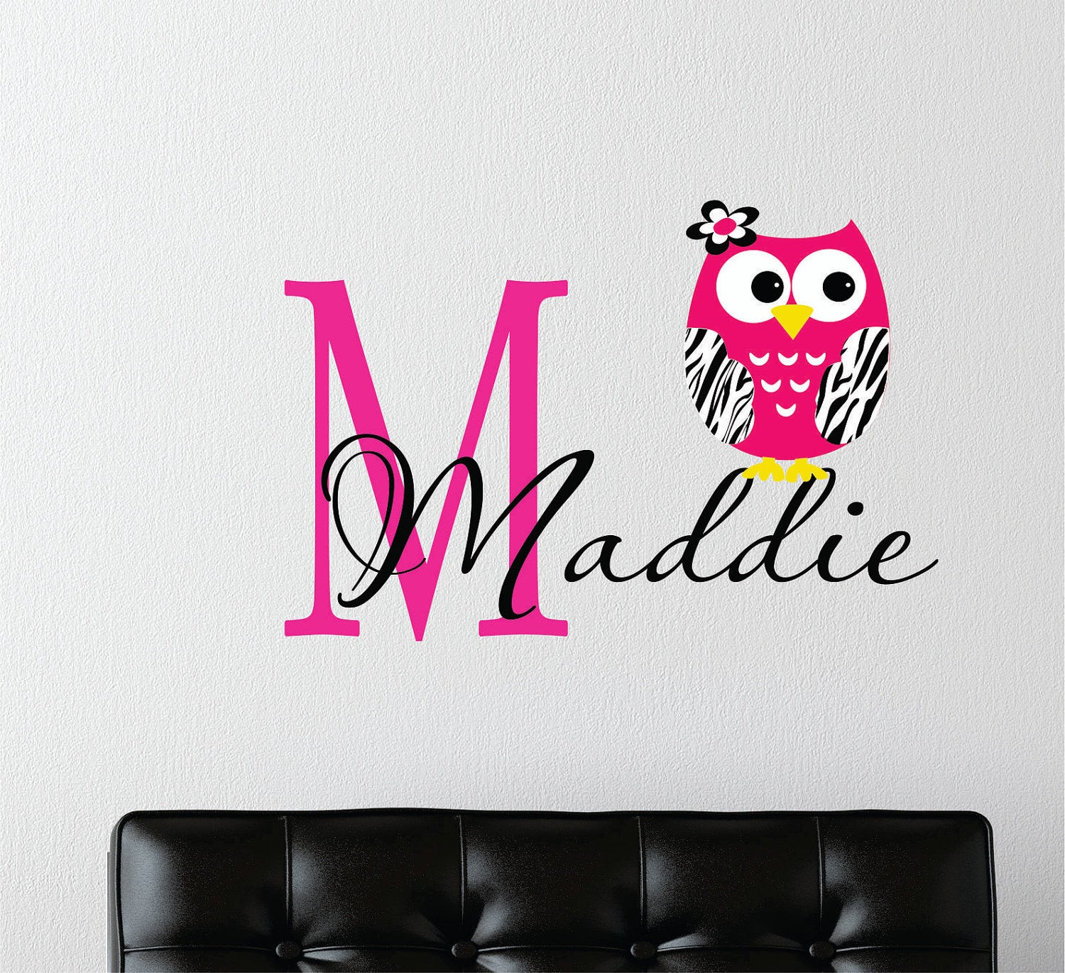 Zebra Owl Wall Decal with Name