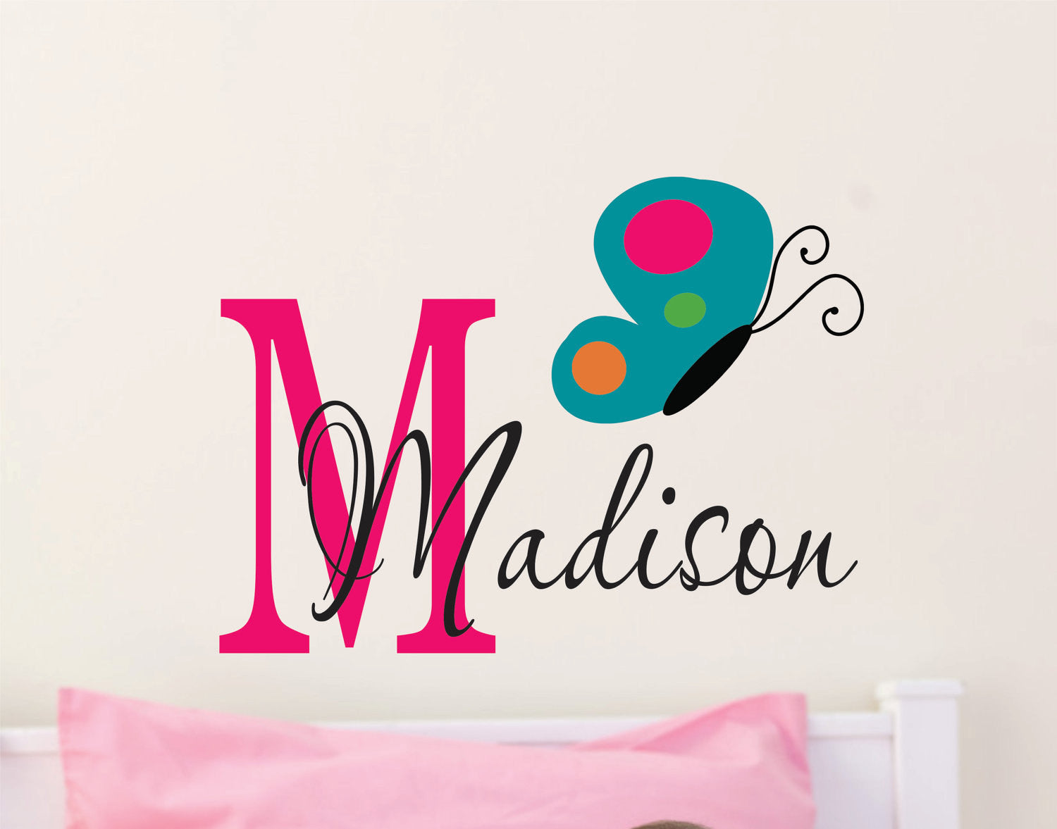 Girls Name Wall Decal with Butterfly