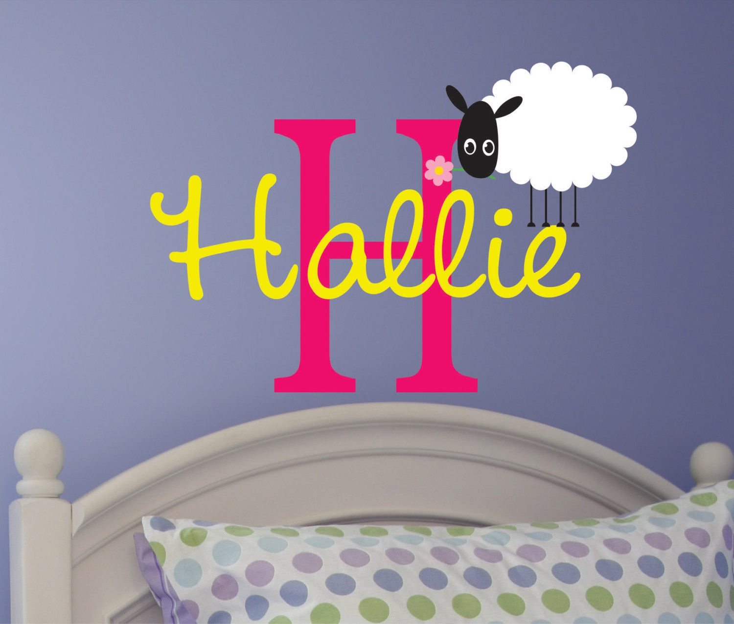 Girls Name Vinyl Wall decal with Sheep