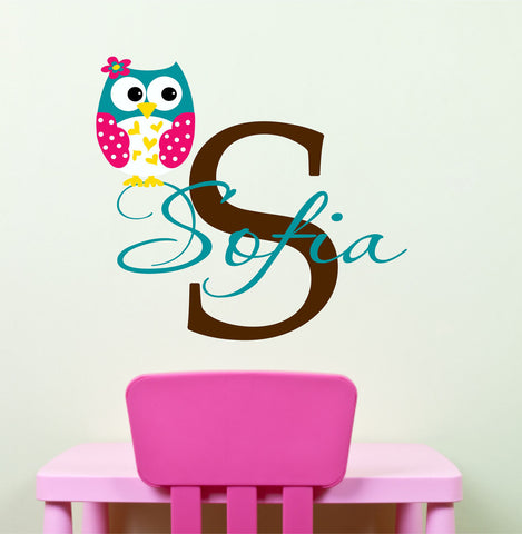 Personalized Girls Owl Wall Decal