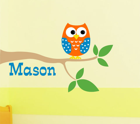 Boys Owl on Branch Wall Decal
