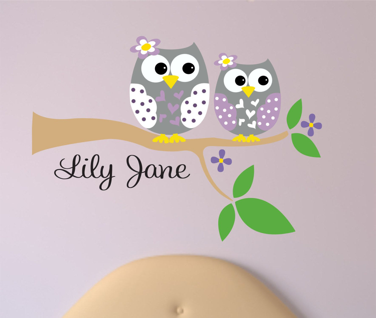 Tree Branch with Two Owls Wall Decals