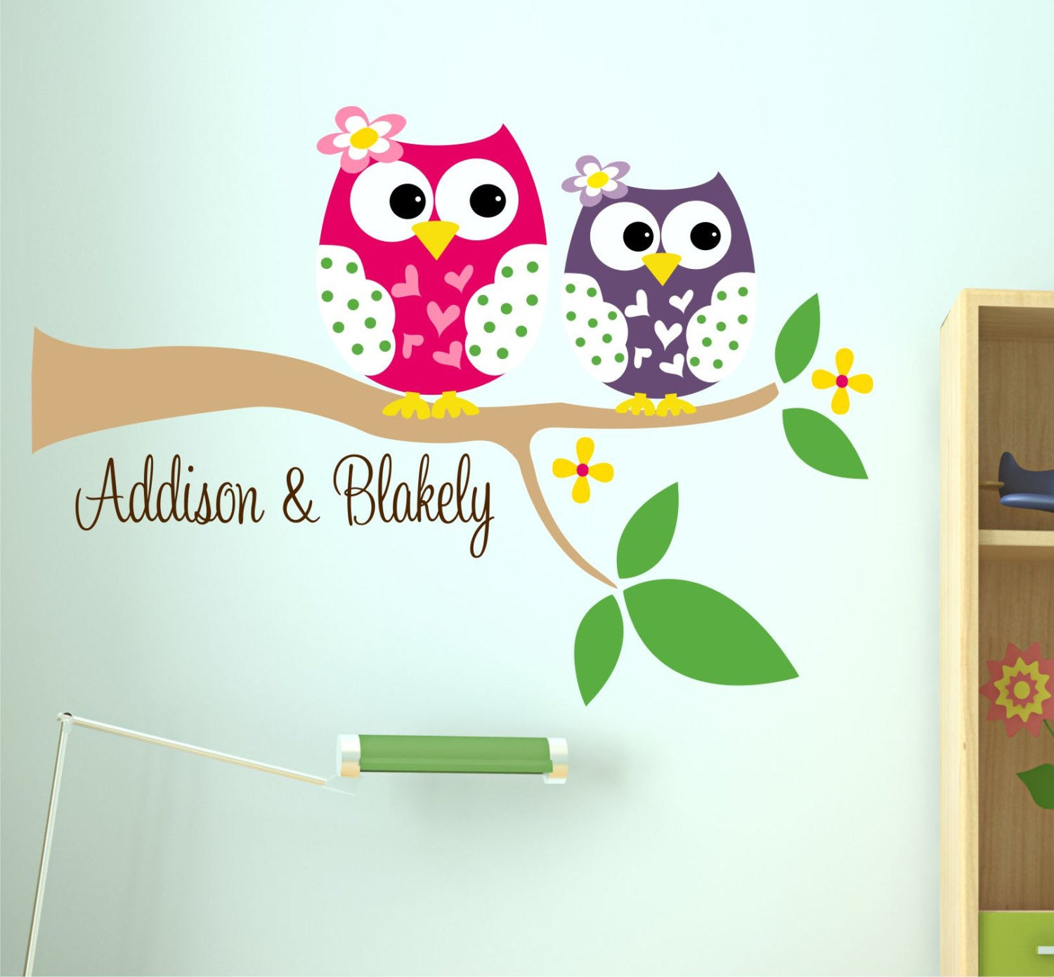 Sister Owls Wall Decal with Names