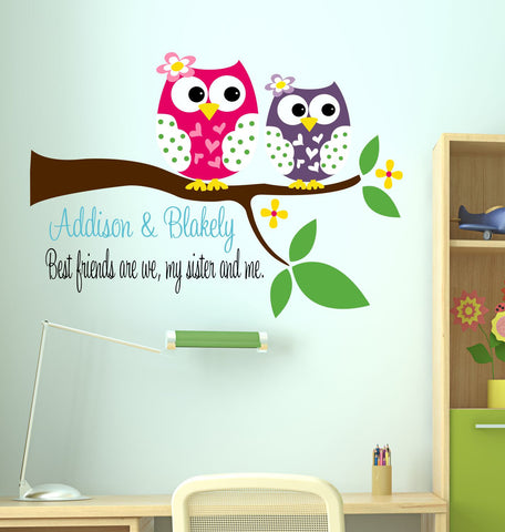 Best Friends are We Sister Owls Vinyl Wall Decal