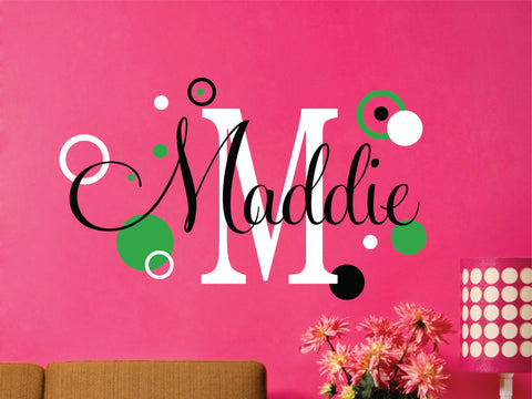 Girls Name with Polka Dots Decals