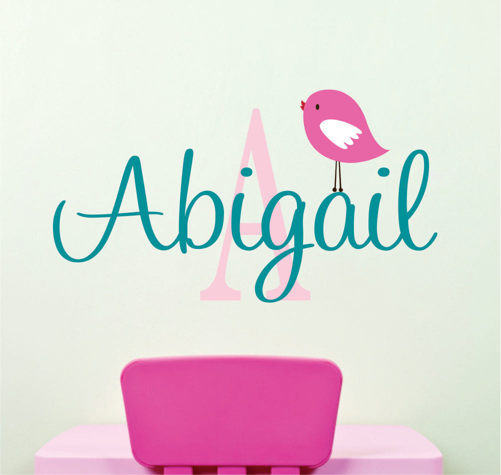 Girls Name Decal with Bird
