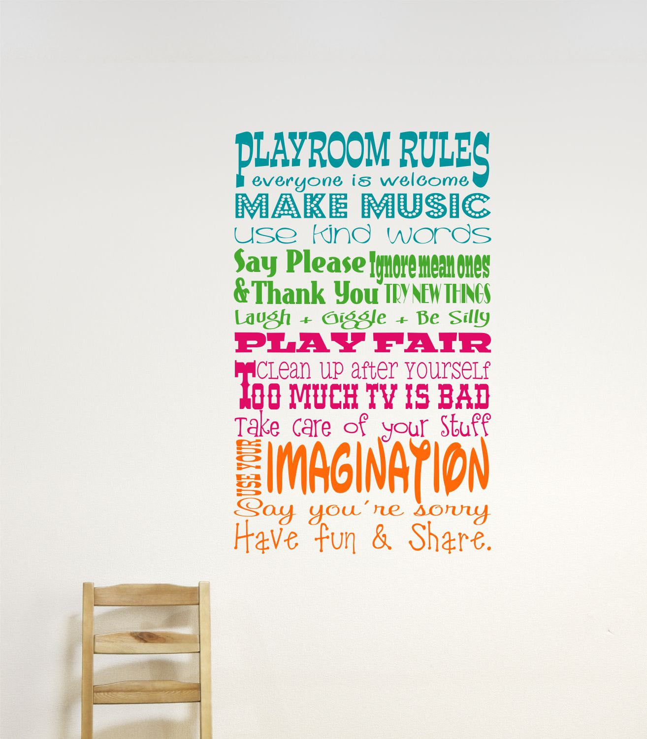 Playroom Rules Vinyl Wall Decals