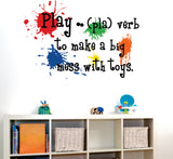 Playroom  Wall Decal - Play Definition