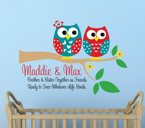 Two Owls on a Branch Wall Decal