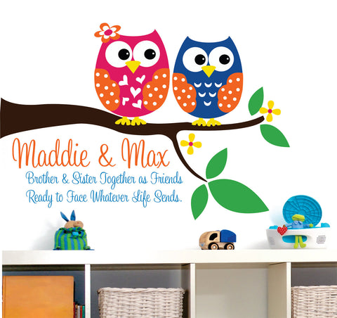 Brother and Sister Owl Wall Decals