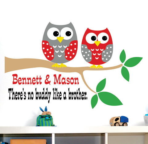 Personalized Branch with Owls Wall Decals