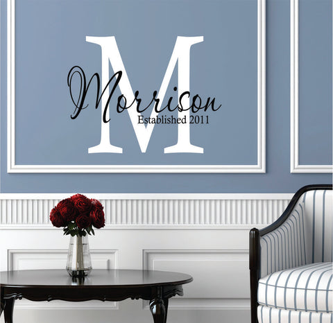 Custom Family Name Vinyl Wall Decal