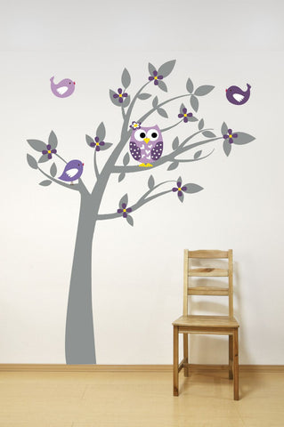 Tree Wall Decal with Owl and Birds