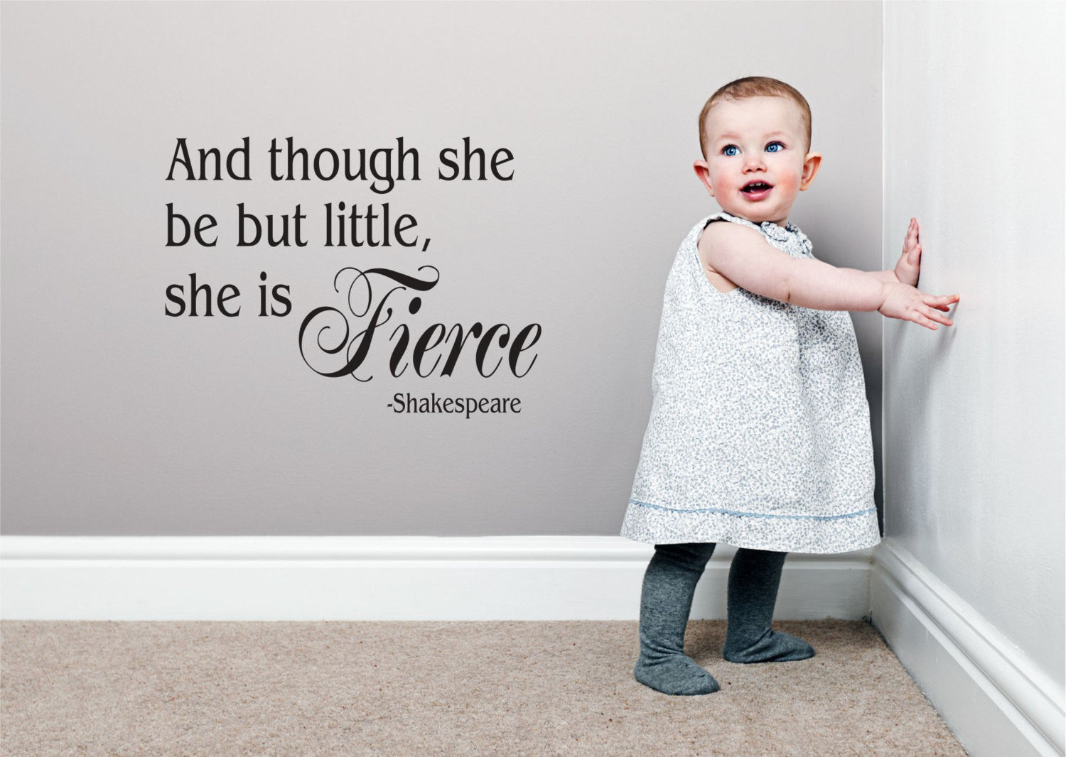 Nursery Decal - Shakespeare and though she be but little, she is fierce.