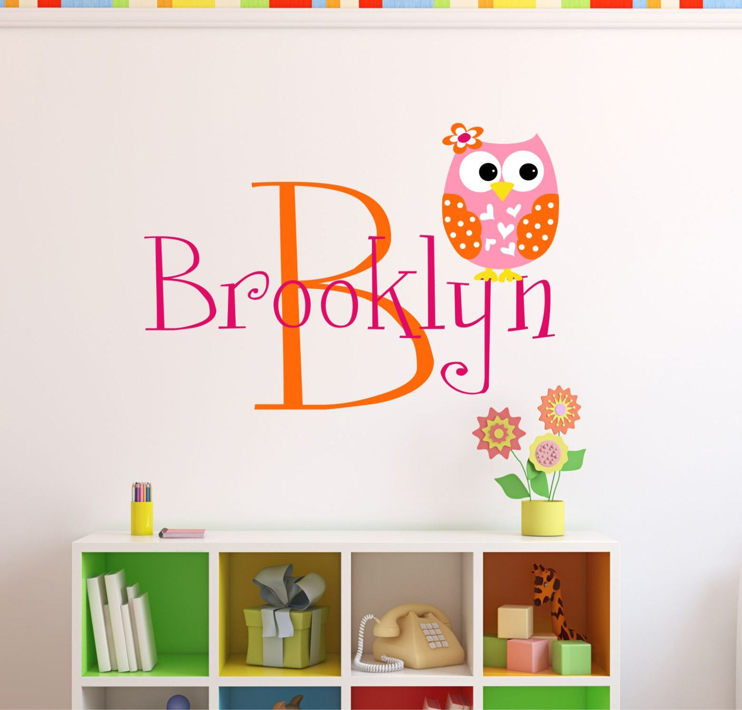 Girls Name with Owl Wall Decal