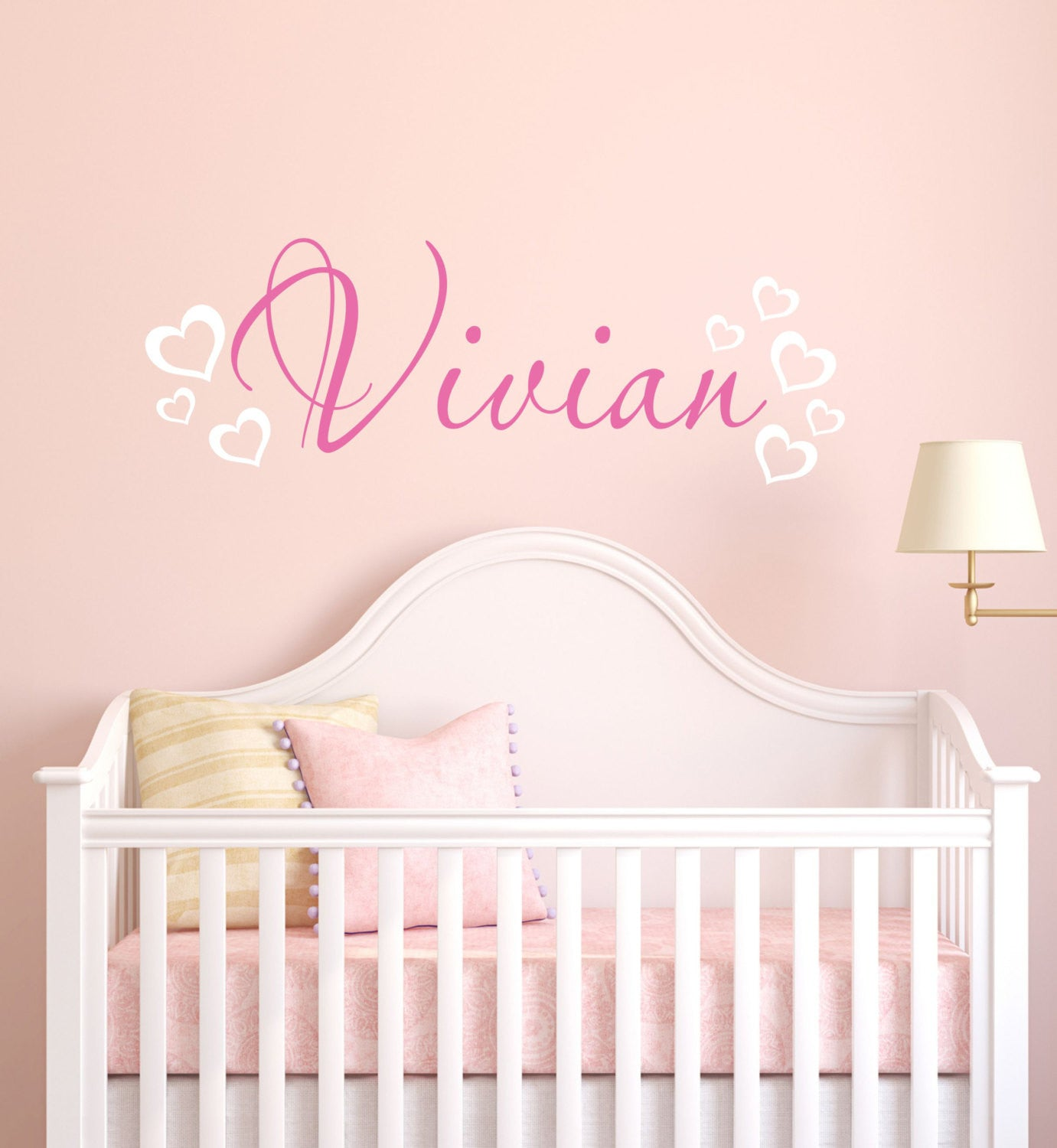 Girls Name with Hearts Wall Decal
