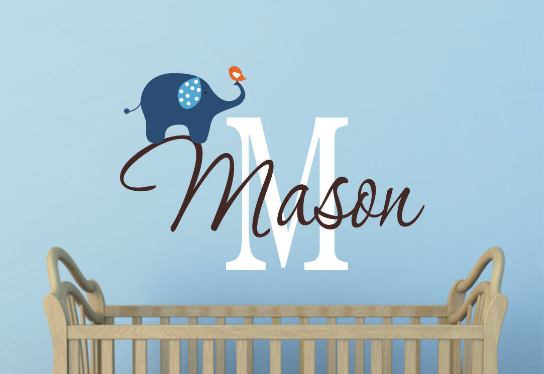 Childrens Name with Elephant Wall Decal