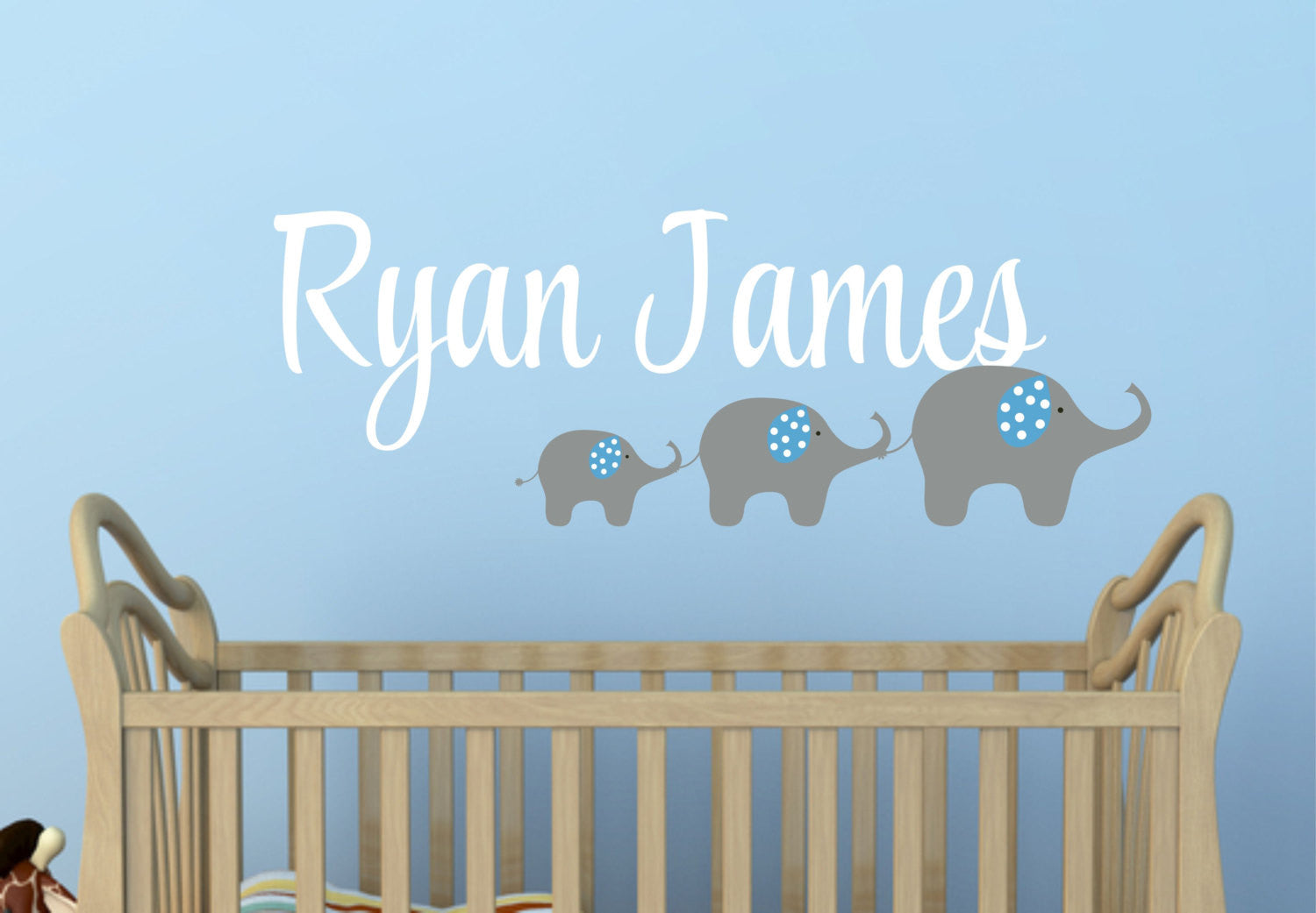 Name Wall Decal with Elephant Family