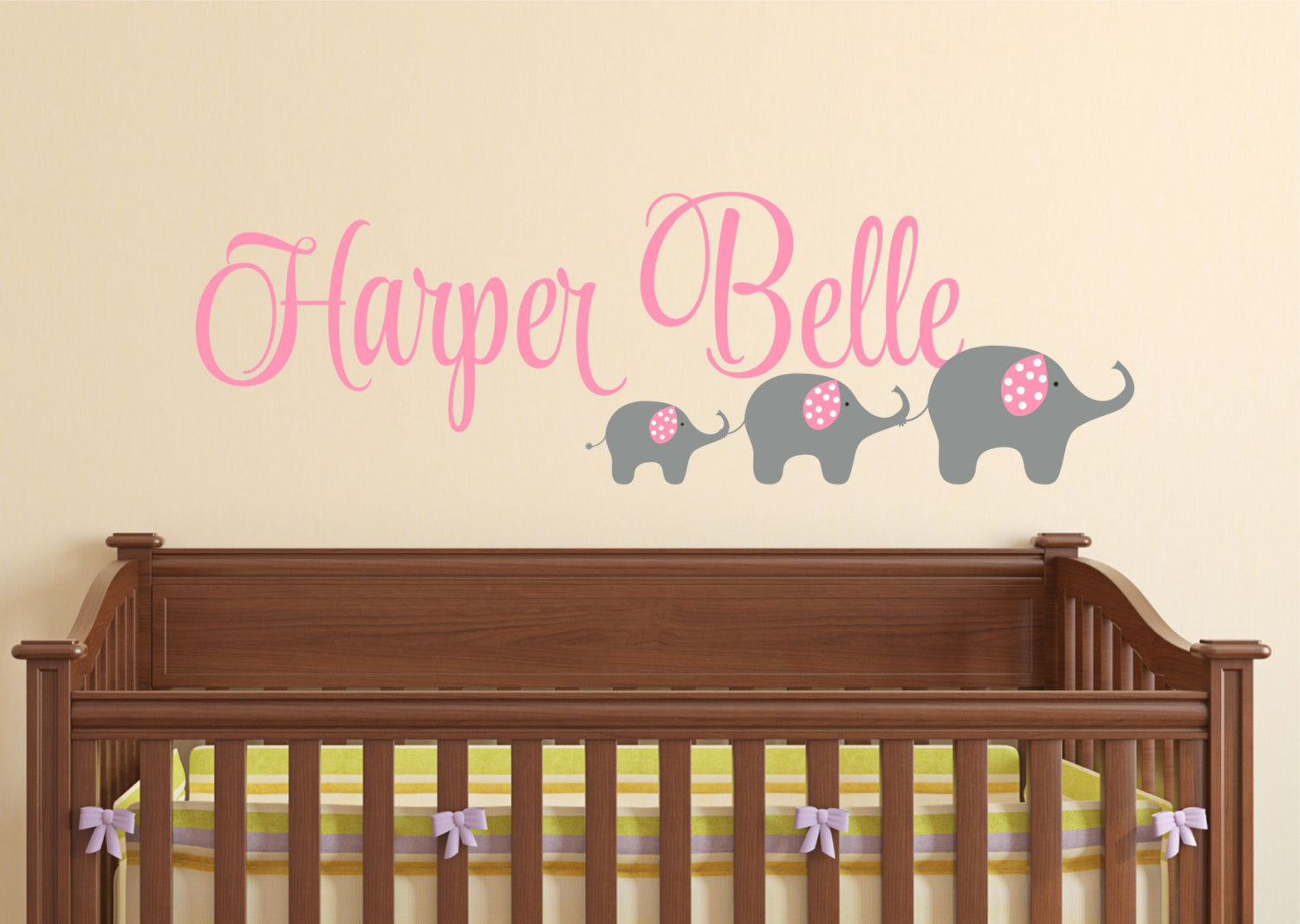 Girls Elephant Wall Decal with Name