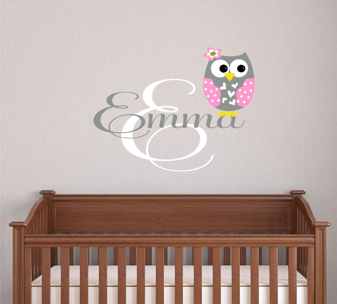 Personalized Owl Wall Decal with Name
