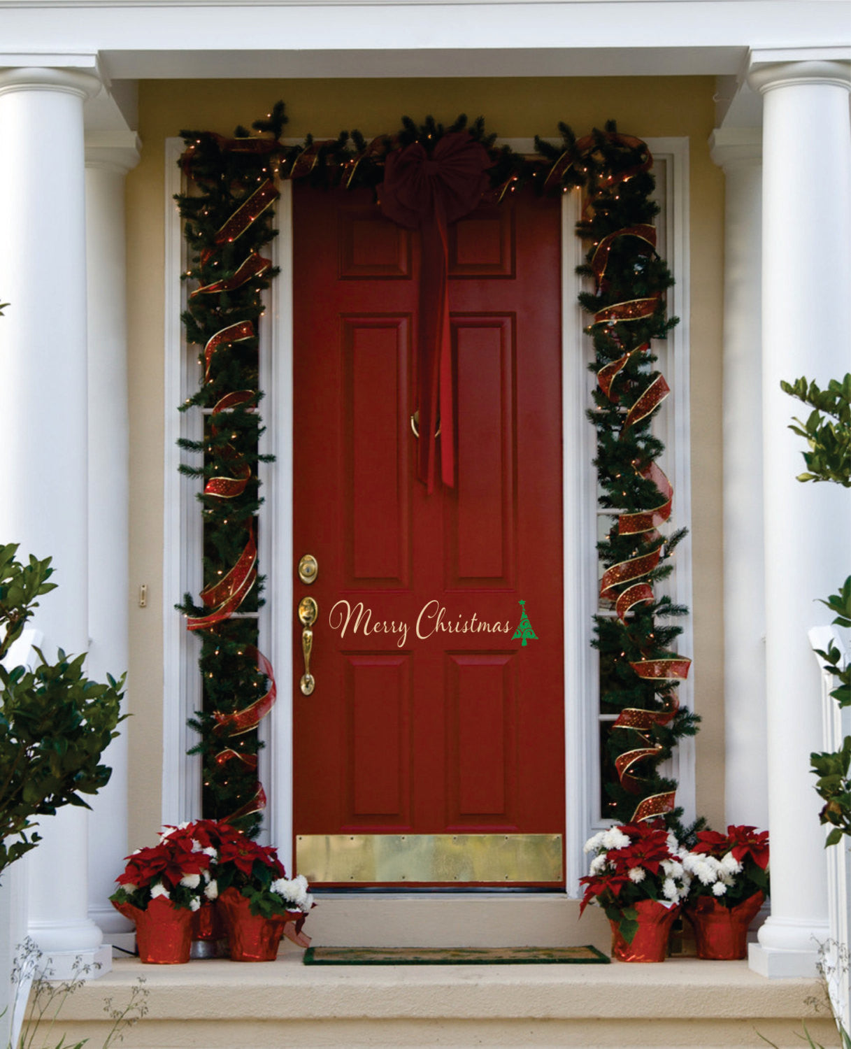 Merry Christmas with Tree Door Vinyl Decal