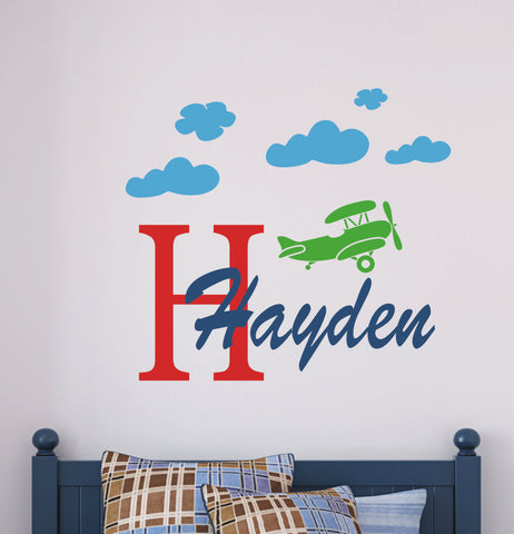 Boys Personalized Airplane Wall Decals
