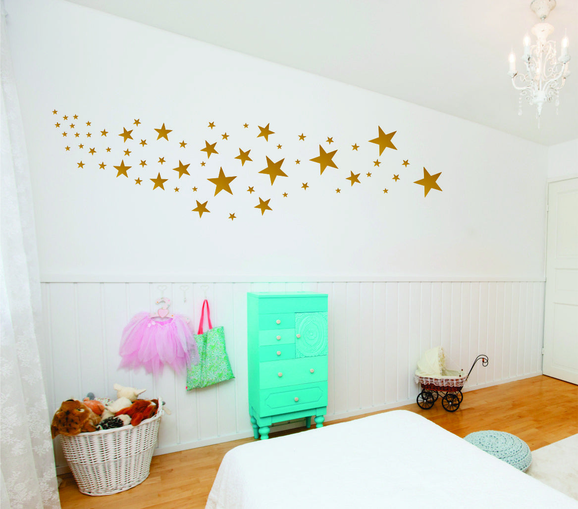 Gold Star Decals - Design Pack of 109 Stars choose any color