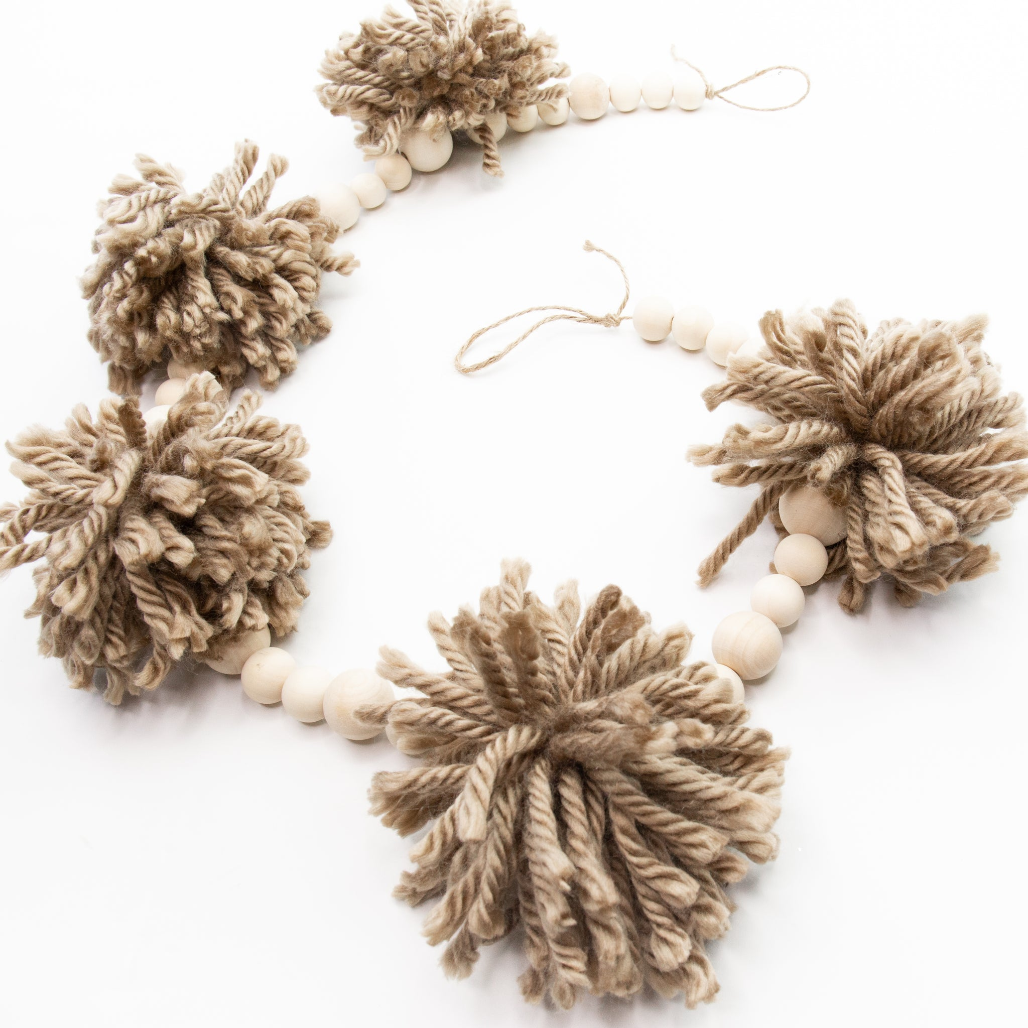 Beaded Wooden Pom Pom Garland
