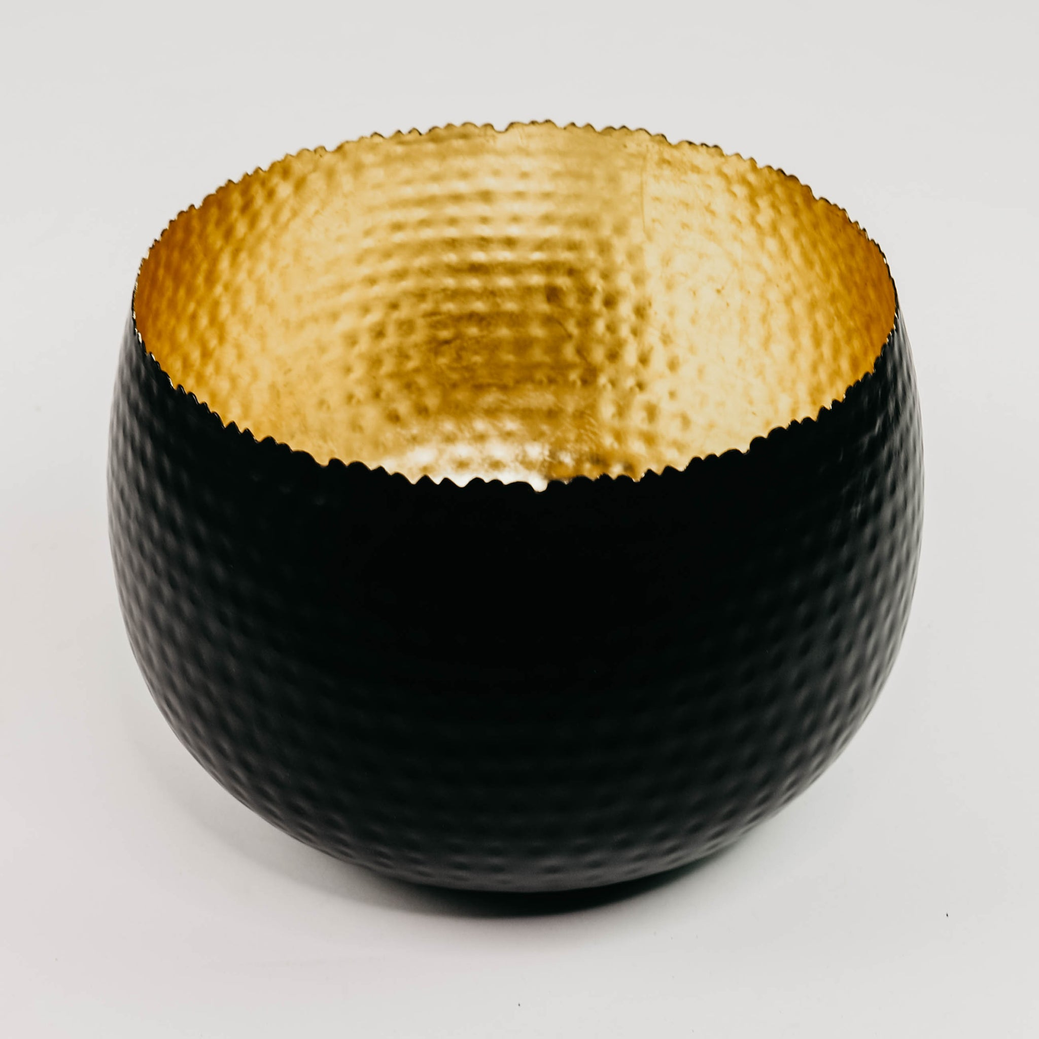 Handcrafted Black + Gold Metal Bowl