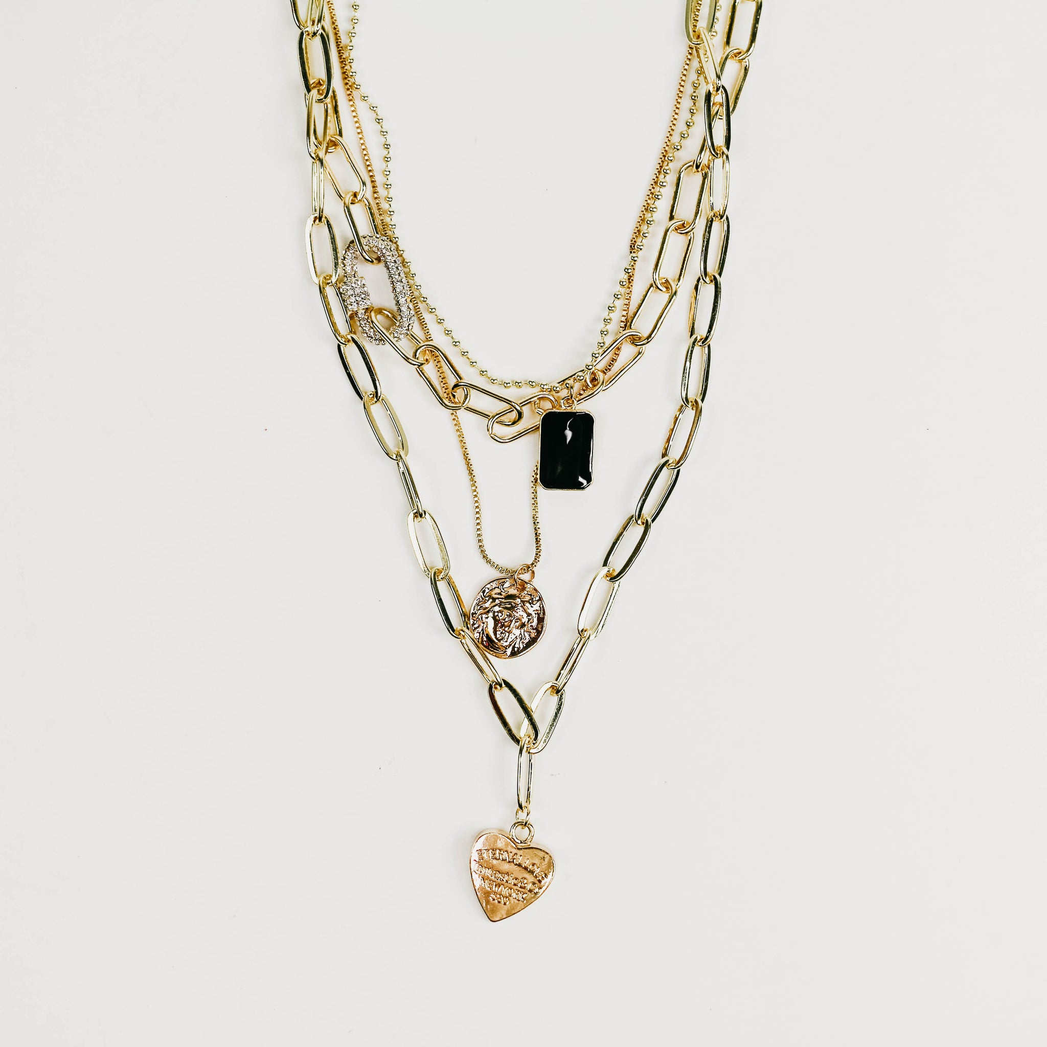 Gold Layered Trinkets Necklace
