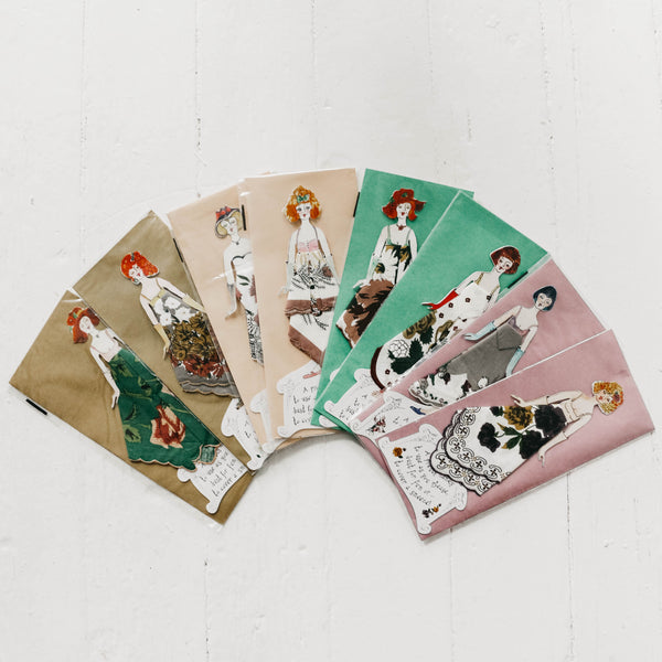 Fashion Paper Doll Handkerchief Cards