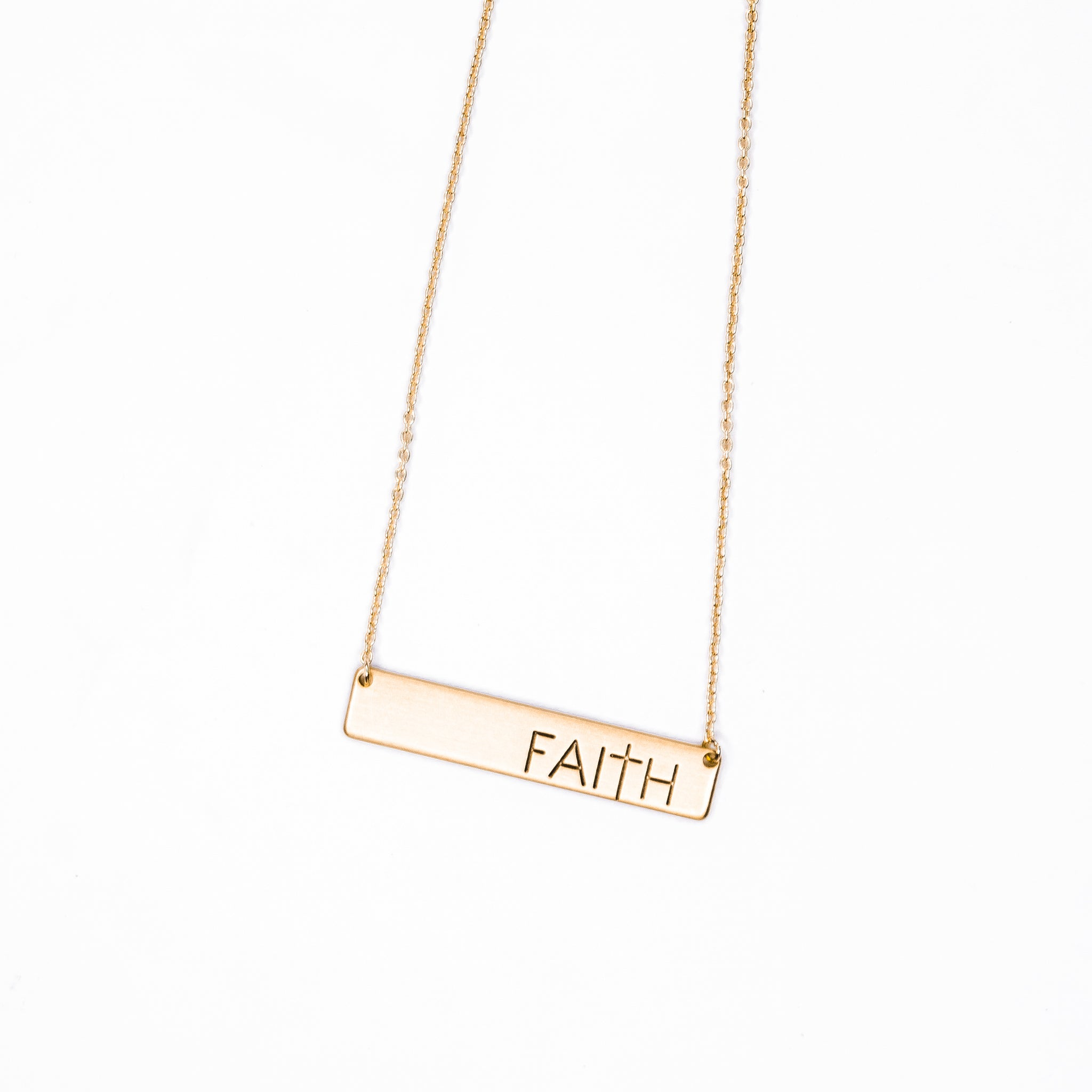 Faith Gold Plate Necklace