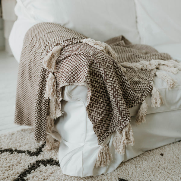 Moroccan Weaved Blanket with Tassels