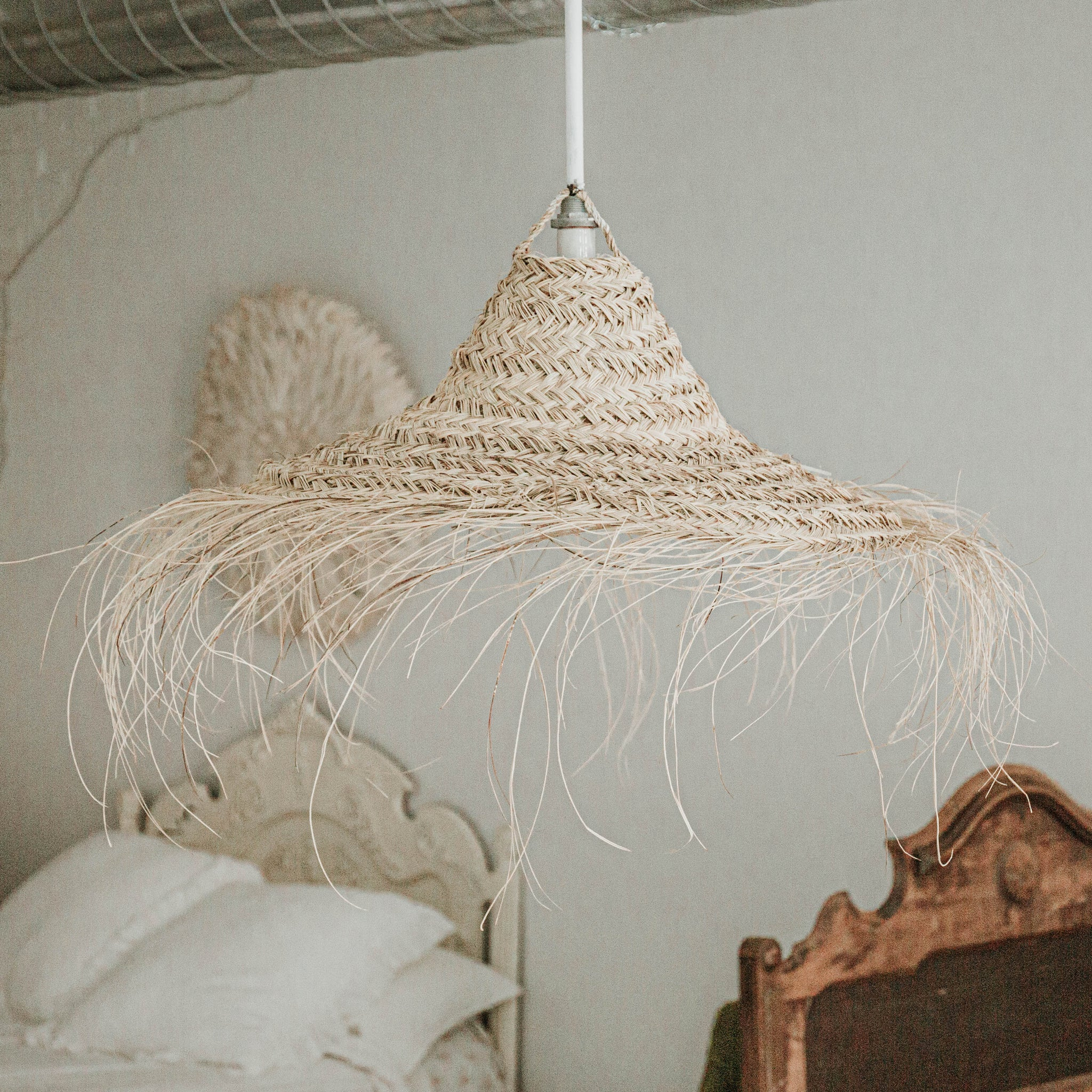 Moroccan Straw Hat Chandelier