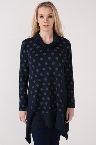 Cowl Neck Polka Dot Tunic
