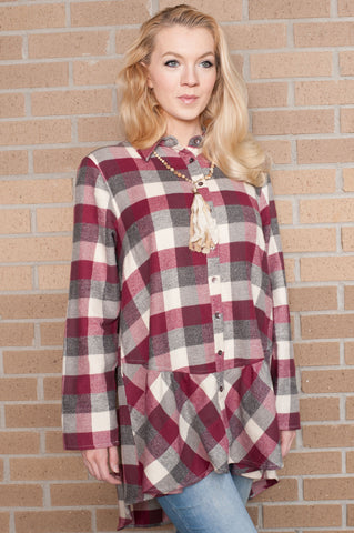 Elizabeth Peplum Berry Plaid Shirt