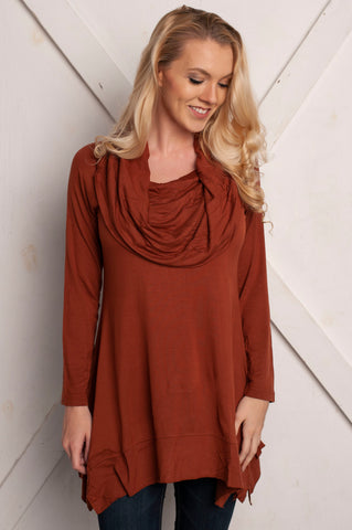 Hailey Cowl Neck Burnt Orange Tunic