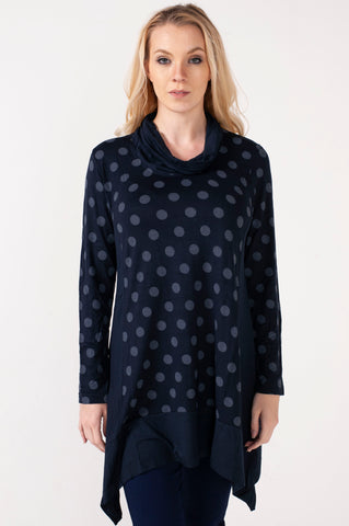 Hailey Cowl Neck Polka Dots Tunic
