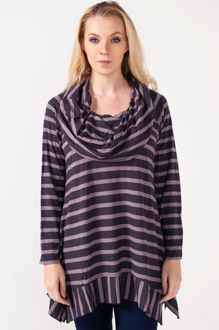 Hailey Cowl Neck Mocha Stripe Tunic